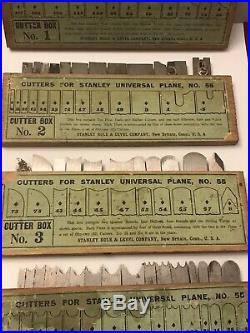 1 2 3 4 STANLEY TOOLS 55 CUTTER IRON LOT set boxes labels