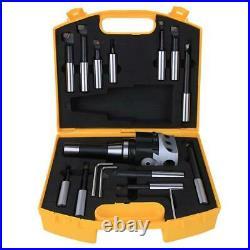 1 Set Boring Head Cutter 40CR Durable CNC Milling Tools Kit r8F1-3/4-12PCS