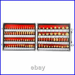 100Pc 1/4 Shank Tungsten Carbide Router Bit Set Wood Milling Cutter Rotary Tool