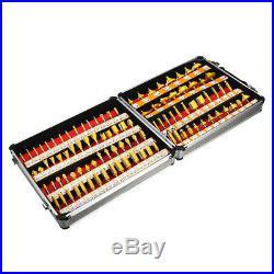 100Pcs 1/4'' Shank Tungsten Carbide Router Bit Woodworking Milling Cutter Set