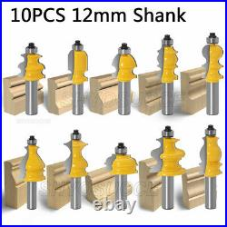 10PCS 1/2 12mm Shank Architectural Molding Router Bit Woodworking Cutter Tools