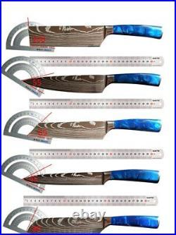 10PCS Chef Knife Japanese Kitchen Knife Set Damascus Pattern Kitchen Cutter Tool