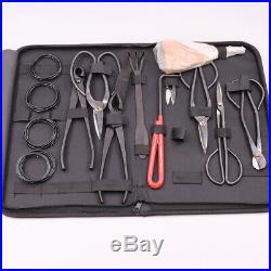 10Pcs Bonsai Tool Set Carbon Steel Kit Cutter Scissors Shears Tree Nylon Case