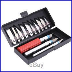 13pc Hobby Knife Razor Blade Set Kit Cutter Tool Exacto Precision Cutting