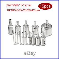 15 Pcs 3-42mm Diamond Drill Bit Set Hole Saw set Cutter Metal Tool Glass-NICE