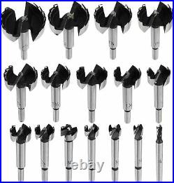 16 Pcs Forstner Drill Bits Cutter Set Wood Hole Saw Kit Woodworking Cutting Tool
