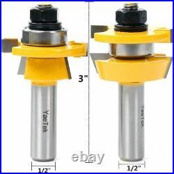2 Bit Rail and Stile Router Bit Set 1/2 Shank Tungsten Carbide Cutters Tool