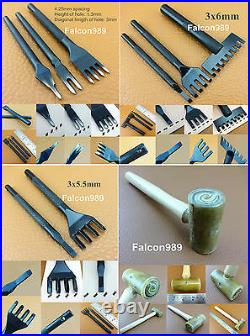 25pcs Leather Craft Chisel Lace Maker Line Strip Cutter Awl Pony Mallet Tool Set