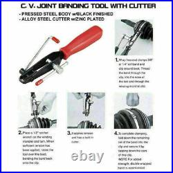 2pcs Auto CV Joint Boot Clamps Pliers With Cutter Ear Type Banding Tool Set New