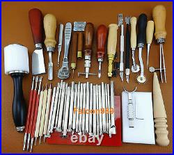 45PC LEATHER CRAFT STAMPING PUNCH TOOL SET KIT Hammer Swivel Cutter Sponge Plate