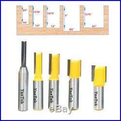 5 Bit Straight/Dado Router Bits Tool Tungsten Carbide Cutter Set 1/2-Inch Shank