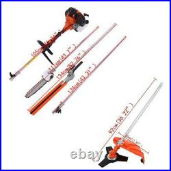 52 cc Petrol Hedge Trimmer Set Chainsaw Brush Cutter Pole Saw Outdoor Tools