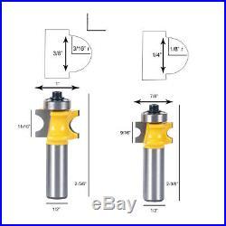 5pcs Bullnose Router Bit Set Tungsten Carbide Cutters 1/2 Shank Cutting Tool