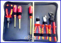 7 Piece 1000V Insulated Tool Set Pliers Slotted & Philips Screwdrivers Cutters