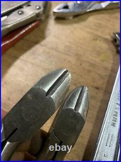 9 Pcs VTG Craftsman Tools Set/USAwire Cutter, locking, slip On, vise Grip, Adjusta