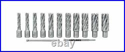 Accusize Industrial Tools 13 Pcs/Set 7/16'' to 1-1/16'' H. S. S. Annular Cutter