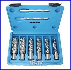 Accusize Industrial Tools Hss Annular Cutter Set, 2'' Cutting Depth, 7/16'' t
