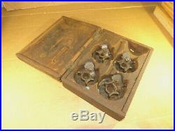 Antique Vintage Dowel Tenon Cutters Hand Tool Brace Bit (Set of 4 in Wood Case)