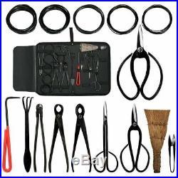 Bonsai Tool Set Carbon Steel 10 Pcs Kit Cutter Scissors Shears Tree Nylon Case