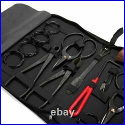 Bonsai Tool Set Kit Steel Cutter Scissors Carbon Grade Case Shear 10 Pcs Tree Us