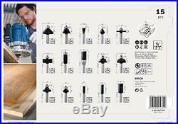 Bosch Professional 2607017473 15-Piece Milling Cutter Set for Wood for Router