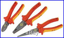 C. K Redline VDE Insulated Pliers 3 Piece Set Cutters Snipe Nose Red/Yellow T3805