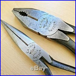 Erik Anton EA Berg shark brand set of 4 vintage pliers top & side cutter Sweden