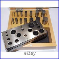 Fustellatrice acciaio 14 pz fustelle base box legno orafo Disc cutter Set tools