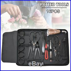 Garden Handmade Bonsai Tool Set Carbon Steel Extensive 16pcs Kit Cutter Scissors