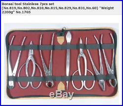 KANESHIN Bonsai Tool 7 Pcs Set Stainless No. 176S Cutter Scissors Pliers Tweezers