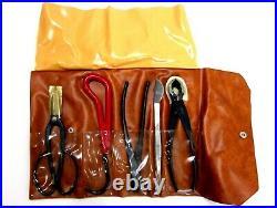 KIKU Traditional Bonsai 8 Tool Set with Folding Case Cutters Snips Tweezers Hook