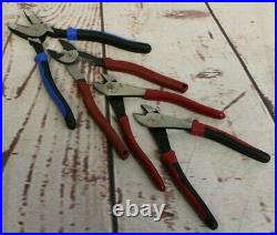 Klein Tools Set. Linesman Side Cutting Pliers, Diagonal Cutters, Wire Crimpers
