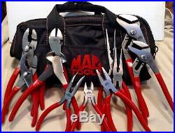 Mac Tools 11Pc Pliers Set Red, Adjustable, Slip Joint, Needle Nose, Cutters, Bag
