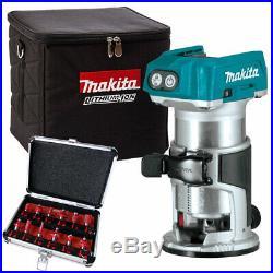 Makita DRT50ZX4 18V Brushless Router Trimmer + Cube Bag + 1/4 12pcs Cutter Set