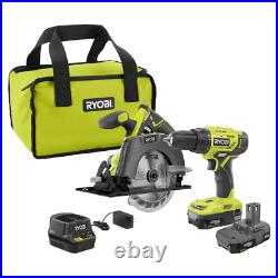 NEW 2 Piece Drill Saw Tool Combo Kit, Cordless Tools Cutter Set, Battery & Case
