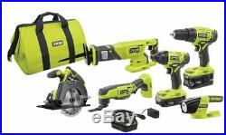 NEW Cordless 6 Piece Power Tools Set Kit, Impact Driver, Drill, Saw Cutter, Case