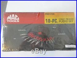 New Mac Tools 10 pc Long Reach Pliers Set + Diagonal cutter, P301756, in kit bag