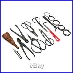 Nylon Case Carbon Steel Bonsai Tool Set with Cutter Spatula Roll Wires 10 Pcs