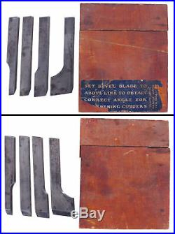 Orig Full Set of Cutters for Stanley No. 444 Dovetail Plane in Box- mjdtoolparts