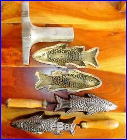 RARE Antique Millinery Lg. Fish Iron Tool Mold Bronze Antique Cutter Set 5 Piece