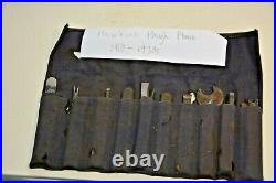 RARE Set Irons Cutters Howkins Plough Plow Plane 13 + Spanner Original Tool Roll