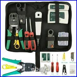 RJ45 Ethernet Network Cable Tester Crimping Stripper Cutter Tool Kit Set UKDC