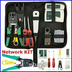 RJ45 Ethernet Network Cable Tester Crimping Stripper Cutter Tool Kit Set UKED