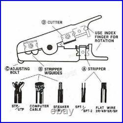 RJ45 Ethernet Network Cable Tester Crimping Stripper Cutter Tool Kit Set UKES