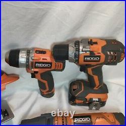 Ridgid Tools 9 Piece Set Drill Driver, Drill, JobMax Tool Cutter, Saw, Batts
