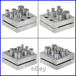 Round Disc Cutter 7 Punch Set Tool Metal Cutting Square Base Jewelry Jeweler D1Z