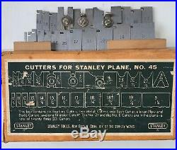 STANLEY No. #45 Plane with full boxed set of cutters in original box NICE Vintage