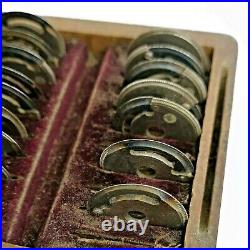 Set of 17 Vintage L. Carpano Watchmakers Gear Cutters Tools in Wooden Box (AL3)