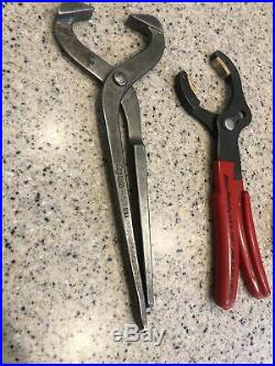 Snap-On Blue-point Tools USA Used 9 Piece RED Grip Assorted Plier Cutter Lot Set