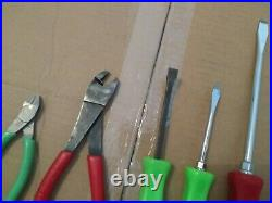 Snap On Tool Pliers Wire Cutters Pry Bar Screwdriver Set Of 5